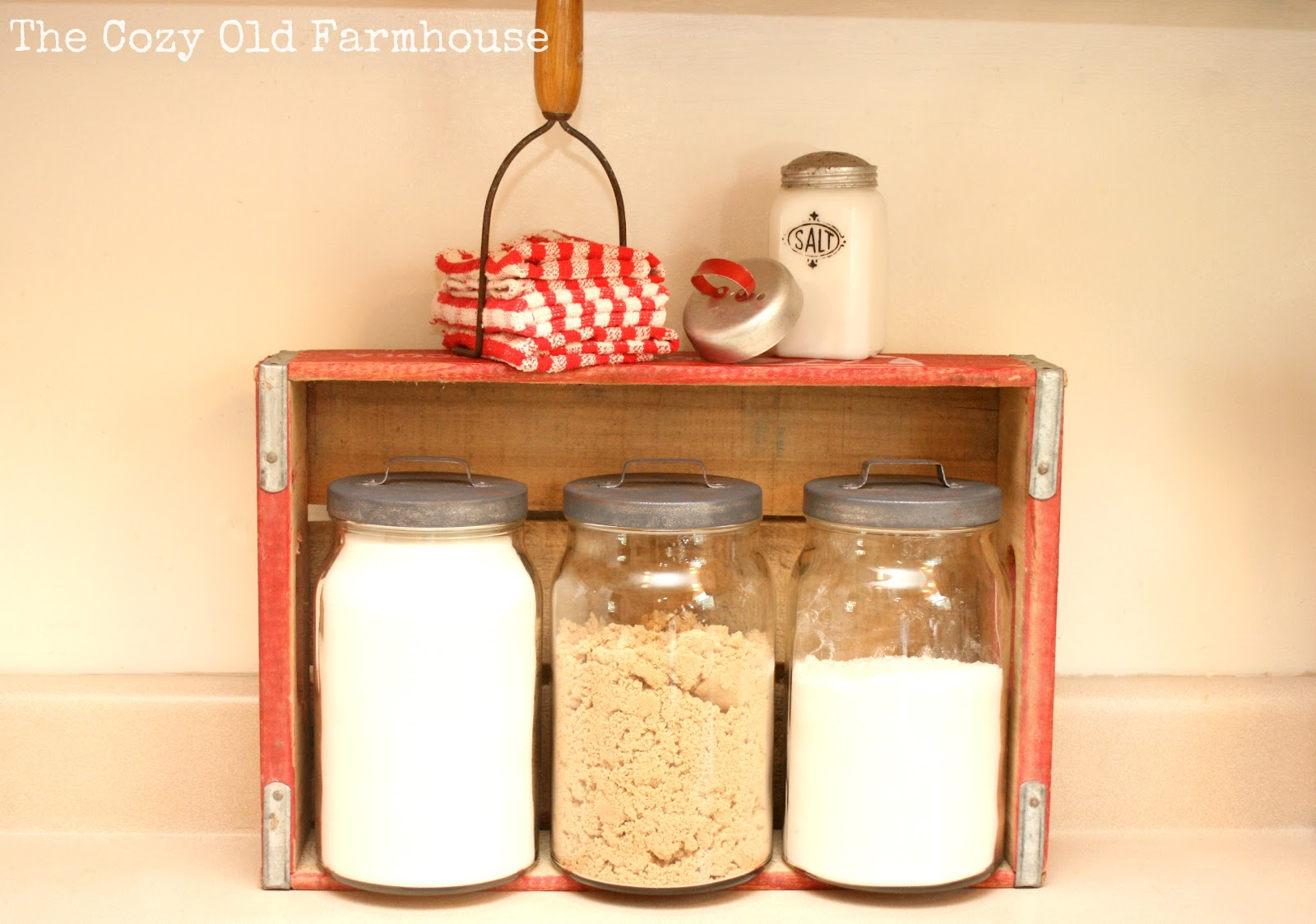 """The Cozy Old """"Farmhouse"""" Kitchen Canisters Makeover with Faux Galv"""