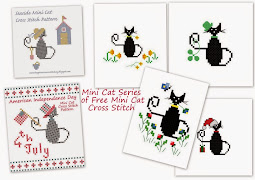 Mini Cat series of cross stitch freebies