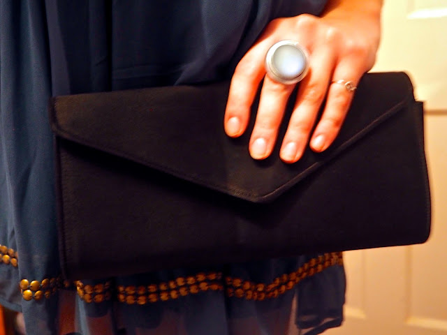 New Year | outfit accessory details of plain black clutch bag and large blue stone ring