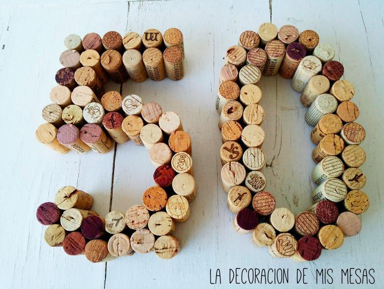 Como hacer n meros grandes con corchos de vino - Ideas para celebrar 50 cumpleanos ...