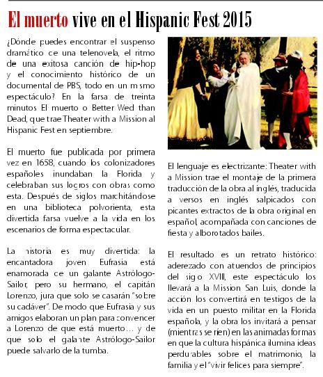 El Muerto TWAM Spanish article in Conexion