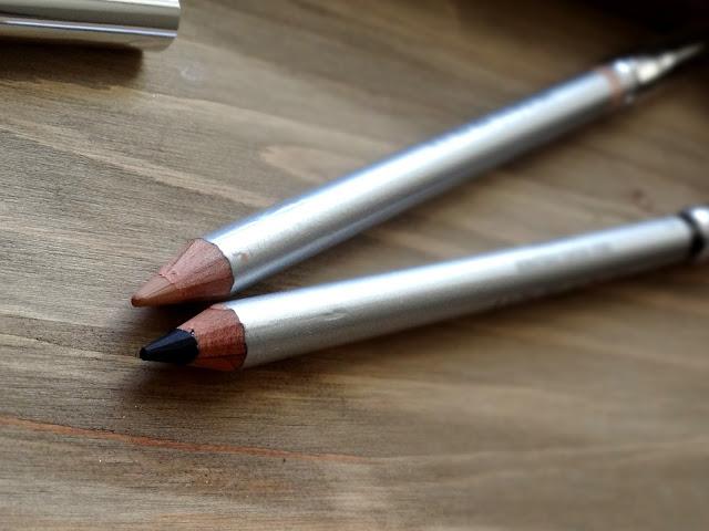 Honest Beauty Truly Kissable Sheer Lip Crayon in Petal Kiss, True Velvet Eyeliners in Truly Black, Eye Opener