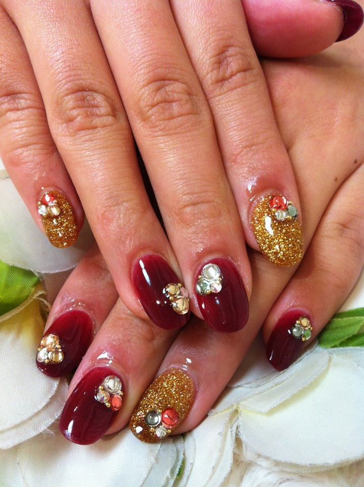 ♥Cute Nail Designs♥: Red & Gold Acrylic Nails by Ayano