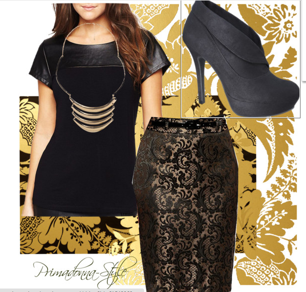 how to wear a faux leather tee, foil print skirt, how to wear a pencil skirt, wear a leather tee leather tee, black and gold,Vira shootie, how to wear ankle boots