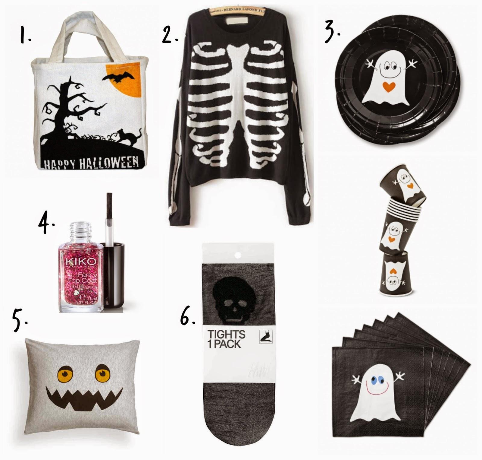 Bolsa de truco o trato, medias de calaveras, esmalte de purpurina, decoraciones de Halloween