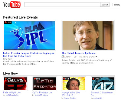 YouTube Launches YouTube Live Browse Page http://2.bp.blogspot.com/-f9KzUDTL8ww/TaF8YcvkwuI/AAAAAAAAAjc/m-NrWgFaG6U/s400/YouTube+Live.bmp