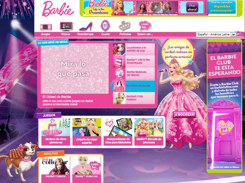Barbie la princesa y la estrella del pop, el sitio