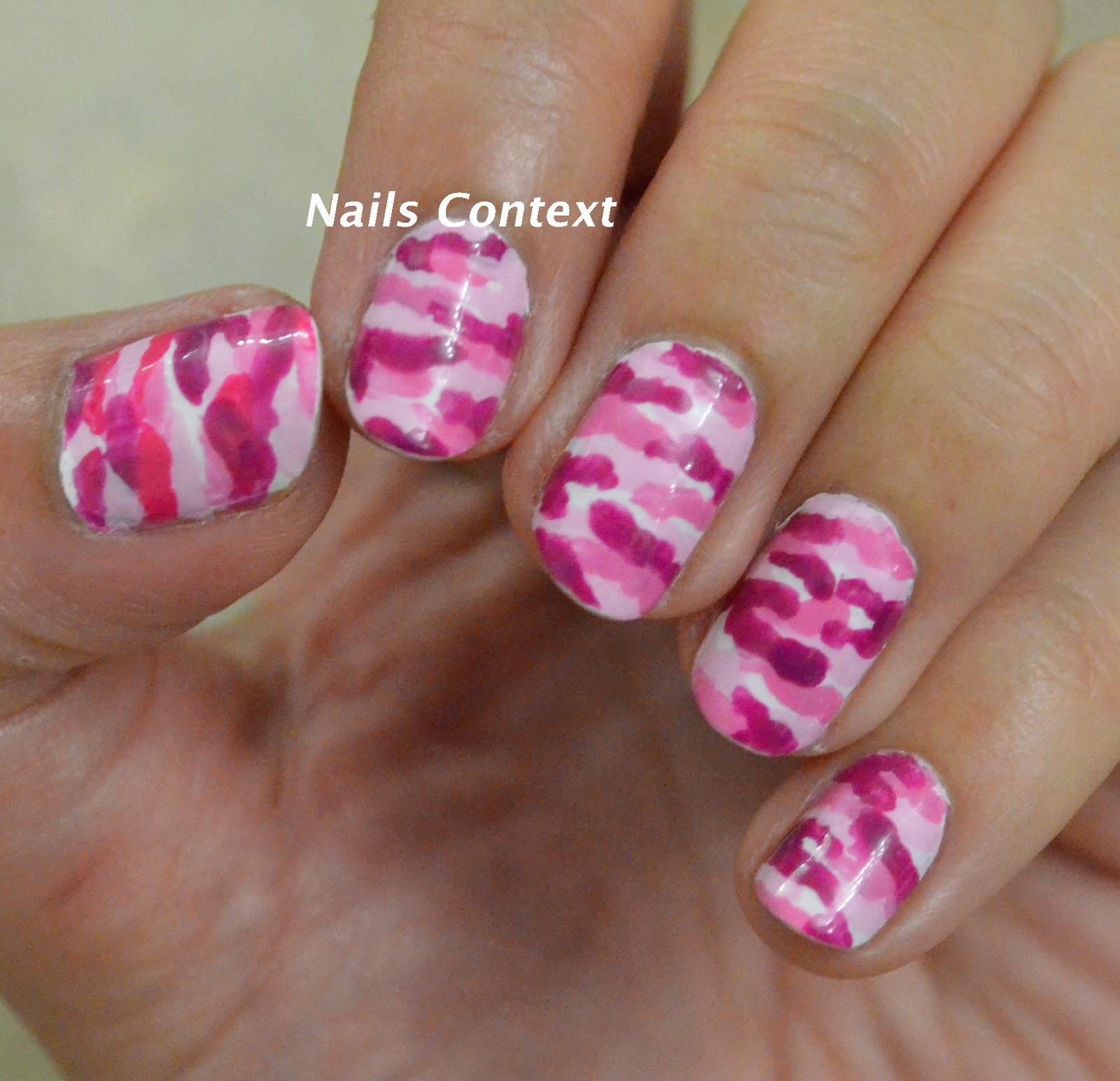 Nails Context Pink Camouflage Nails