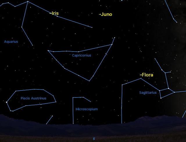 Quan sát ba tiểu hành tinh trên bầu trời tháng 8 năm 2013. Hình minh họa bởi phần mềm Starry Night.