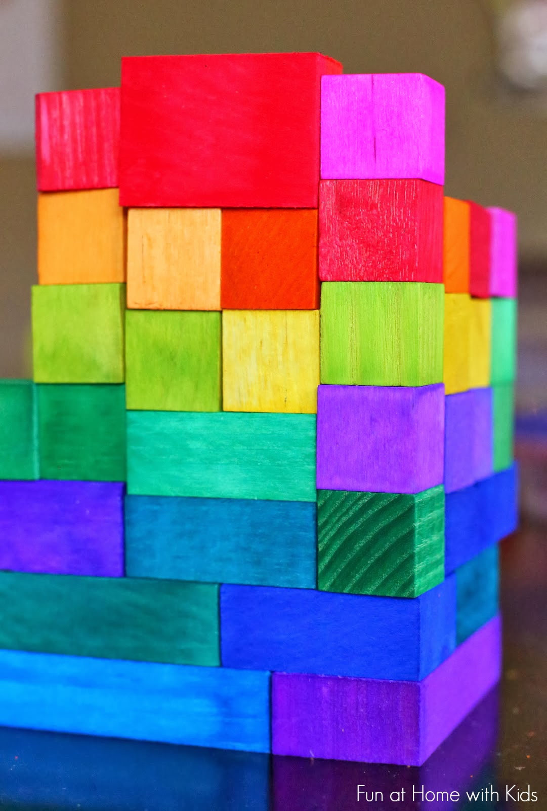 Diy dyed rainbow quot grimm style wooden blocks