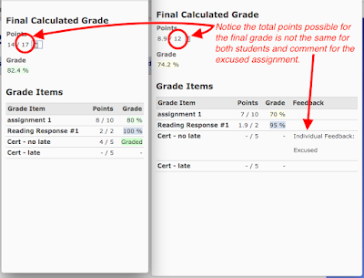 comparison of two students' grades with one excused assignment