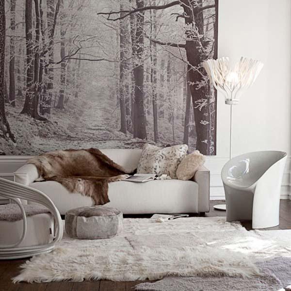 salón en grises y blanco-cálido- de invierno y sofisticado