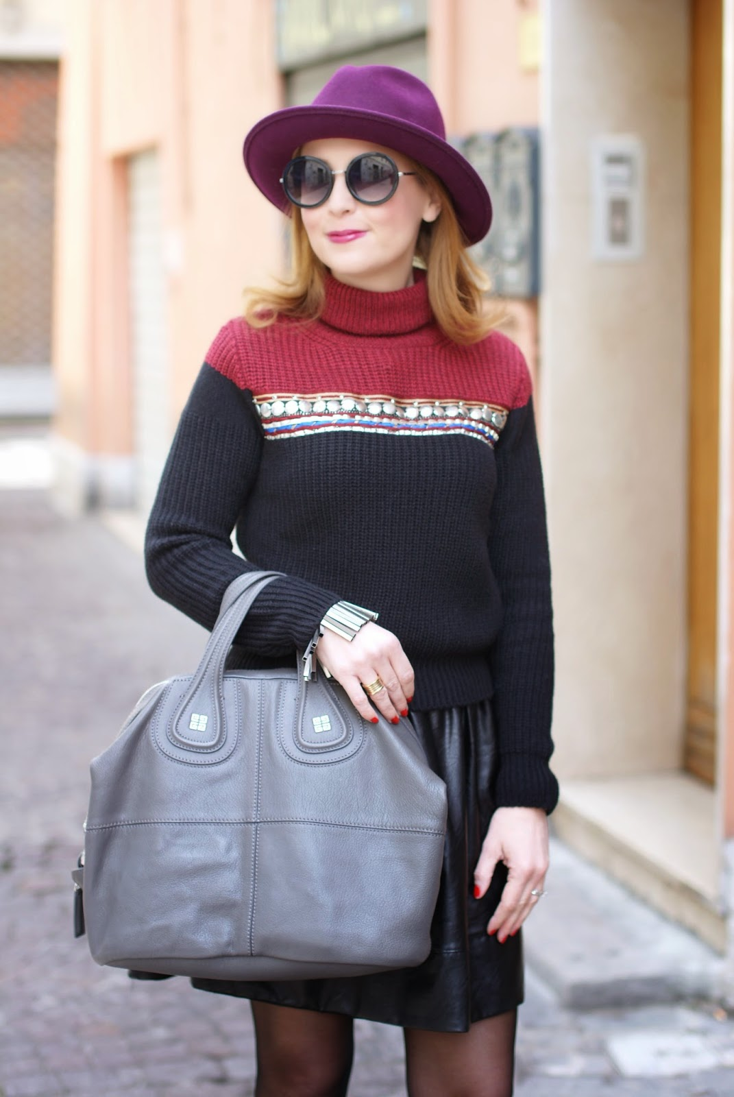 Eco-leather mini circle skirt, ribbed knit turtleneck sweater, Givenchy Nightingale bag, round asos sunglasses, ecua-andino wool hat, Fashion and Cookies, fashion blogger