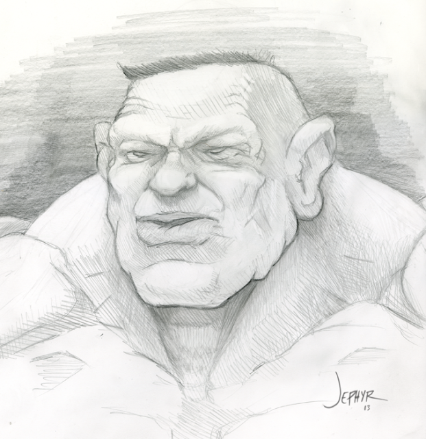"Jephyr Sketchbook Drawing, ""Sgt Smash"", Copyright 2013, All Rights Reserved"