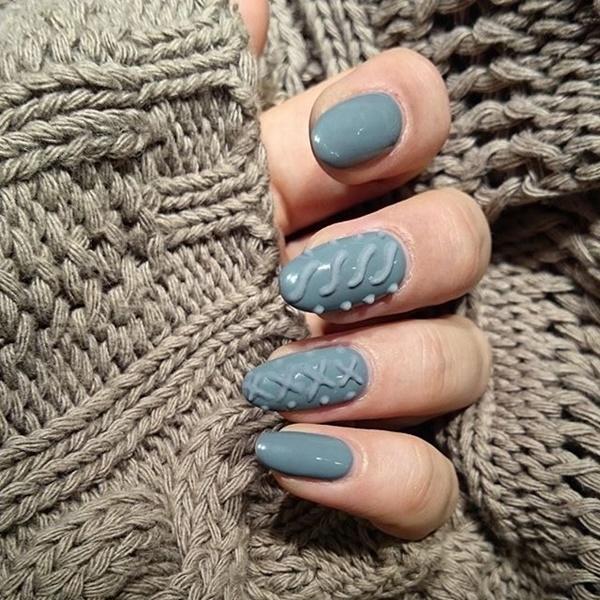 Unha com textura de suéter de lã