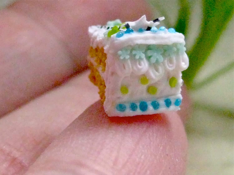 Inventive Soul Tiny Miniature Slice Of Birthday Cake 14 Inch