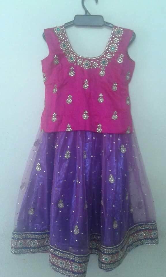 Purple Pink Kundan Lehenga