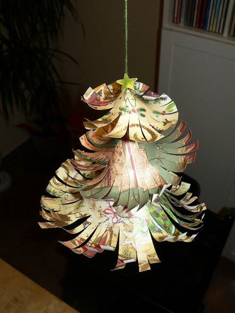 gold patterned curled paper christmas tree craft by mama pea pod