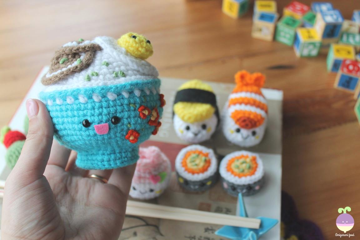 Free Amigurumi Food Patterns : Amigurumi food new crochet pattern bento family sushi set