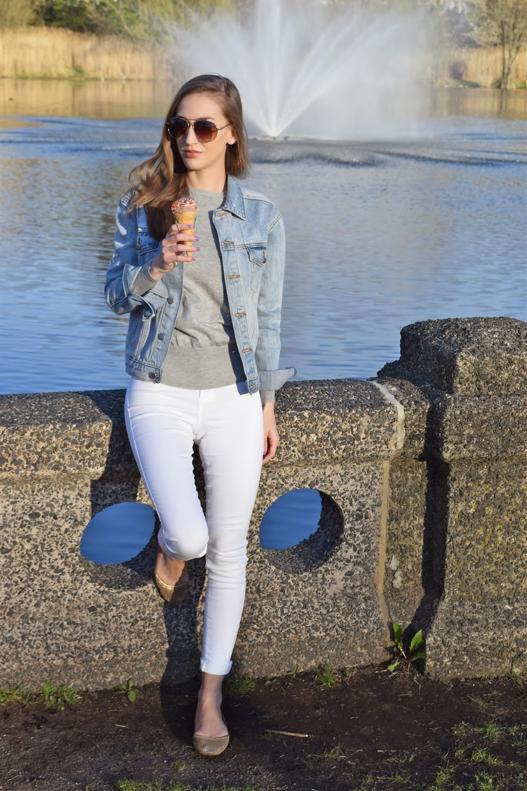 Branch Brook Park, Wearing light denim Jacket, TopShop White Jeans