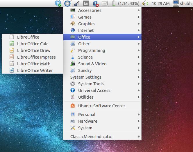 classic menu on ubuntu 14.04