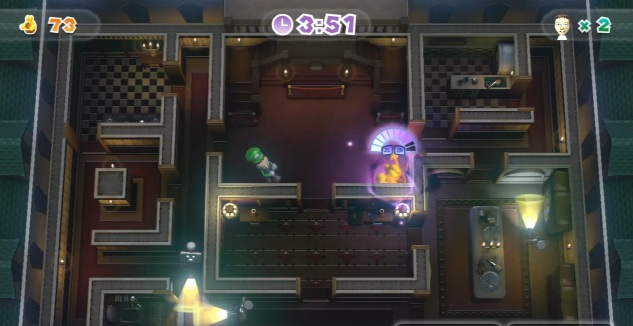 Screenshot of Nintendo Land attraction Luigi's Ghost Mansion