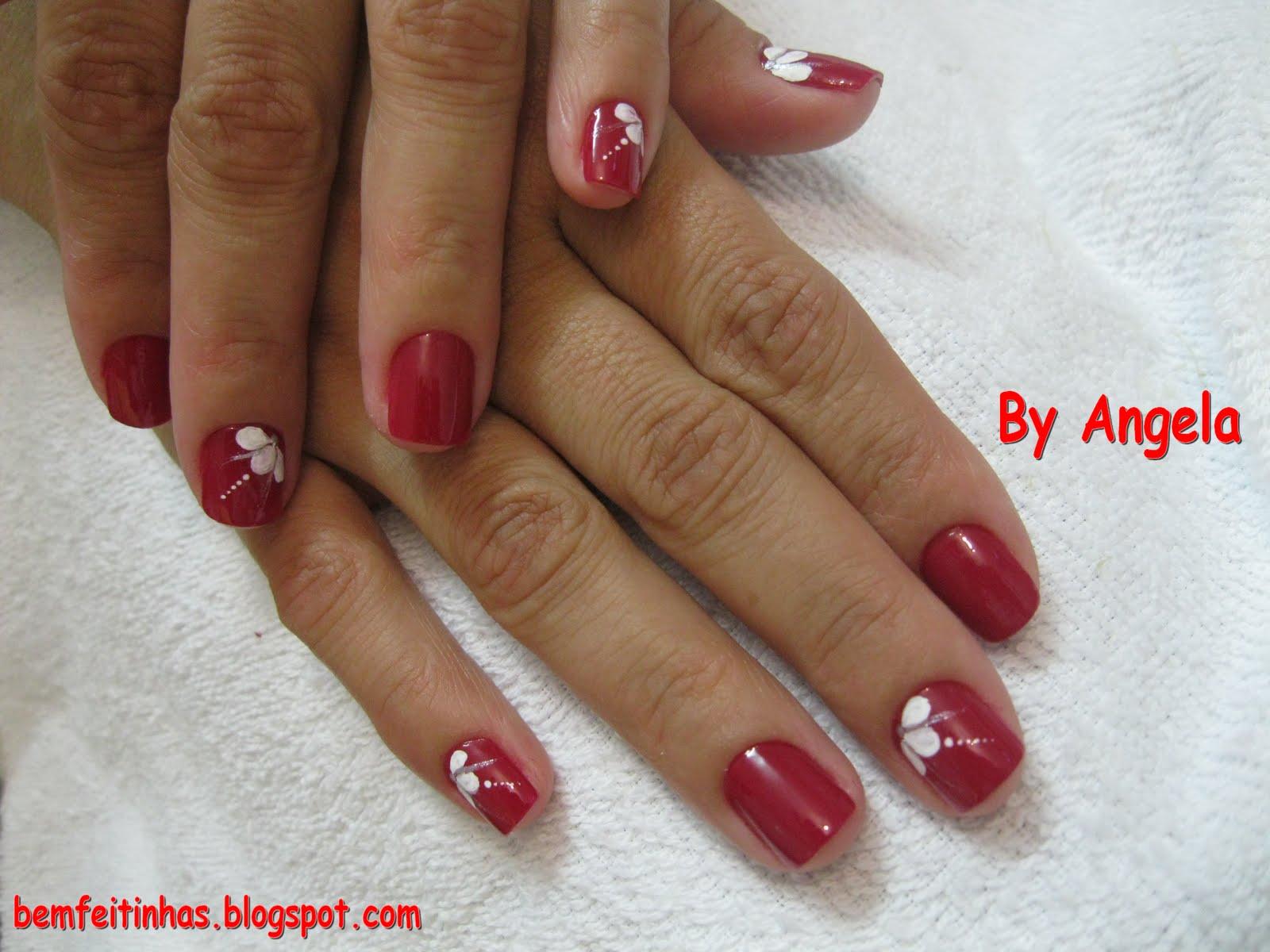decoracao em unha branca:Bem Feitinhas: Decoração Branca em unha vermelha