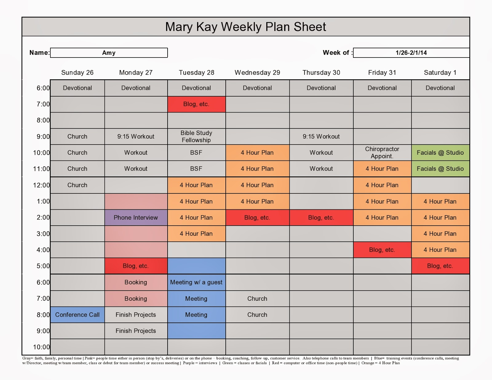 Mary Kay Weekly Plan Sheet