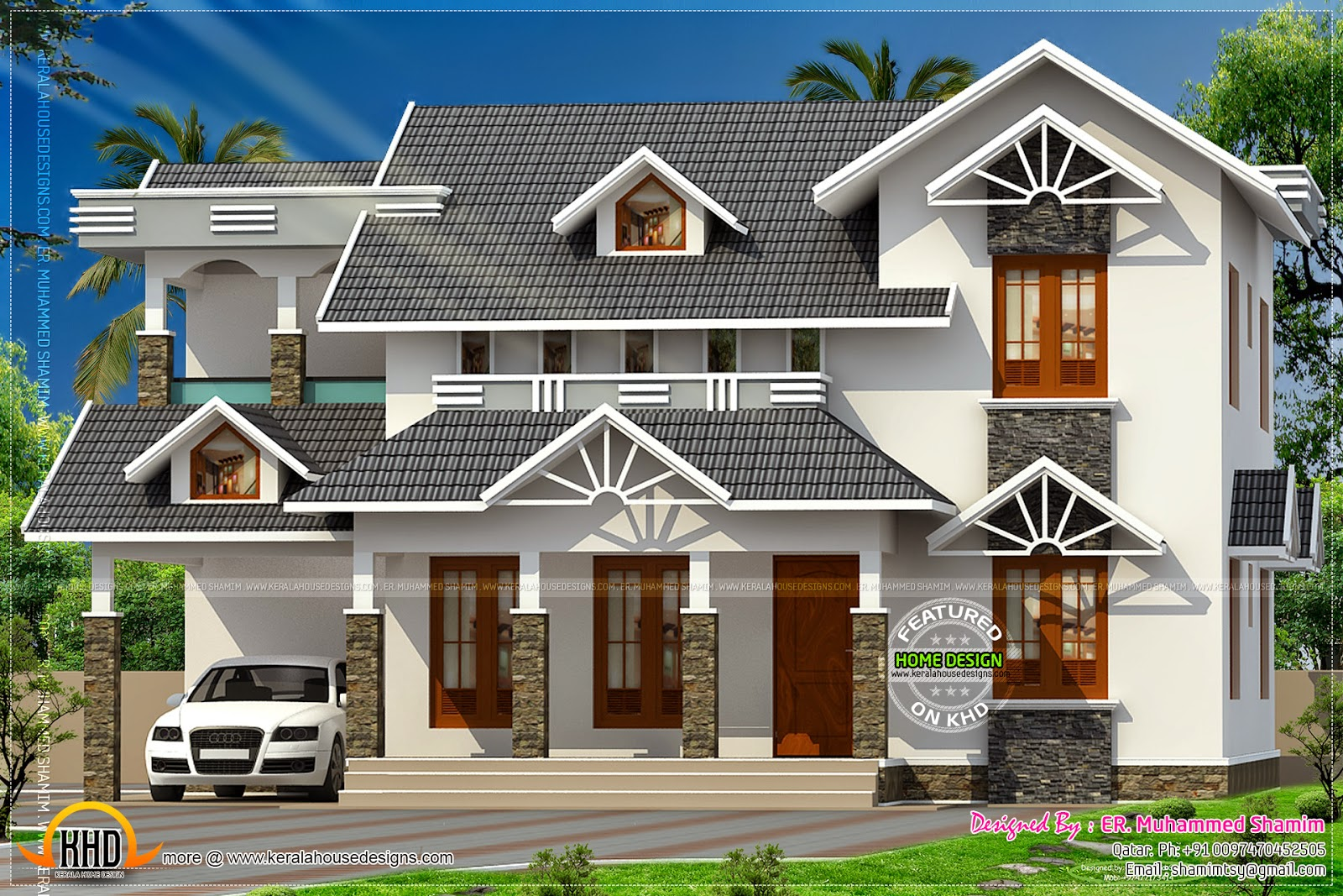 Nice sloped roof kerala home design kerala home design for Latest kerala style home designs