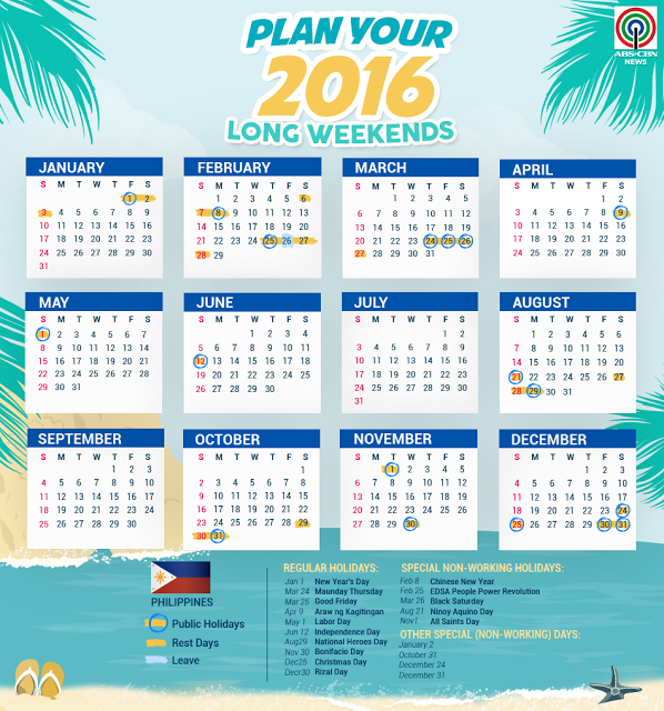 List of Philippine Holidays 2016 plan