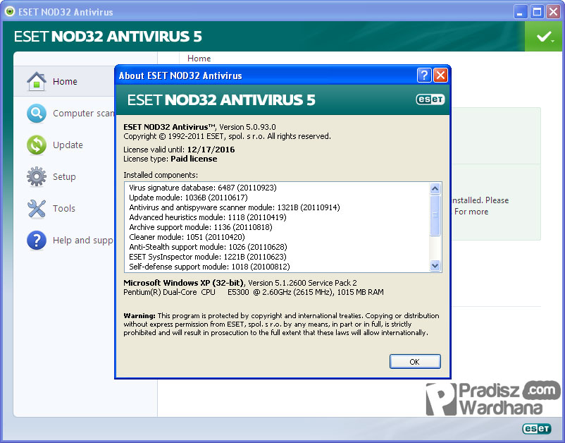 Активация программы ESET NOD32 Smart Security. . На ключи сделана ссылка н