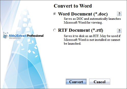 Able2Extract Professional convert to word