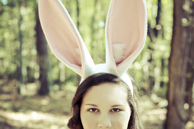 Bunny girl in the woods.
