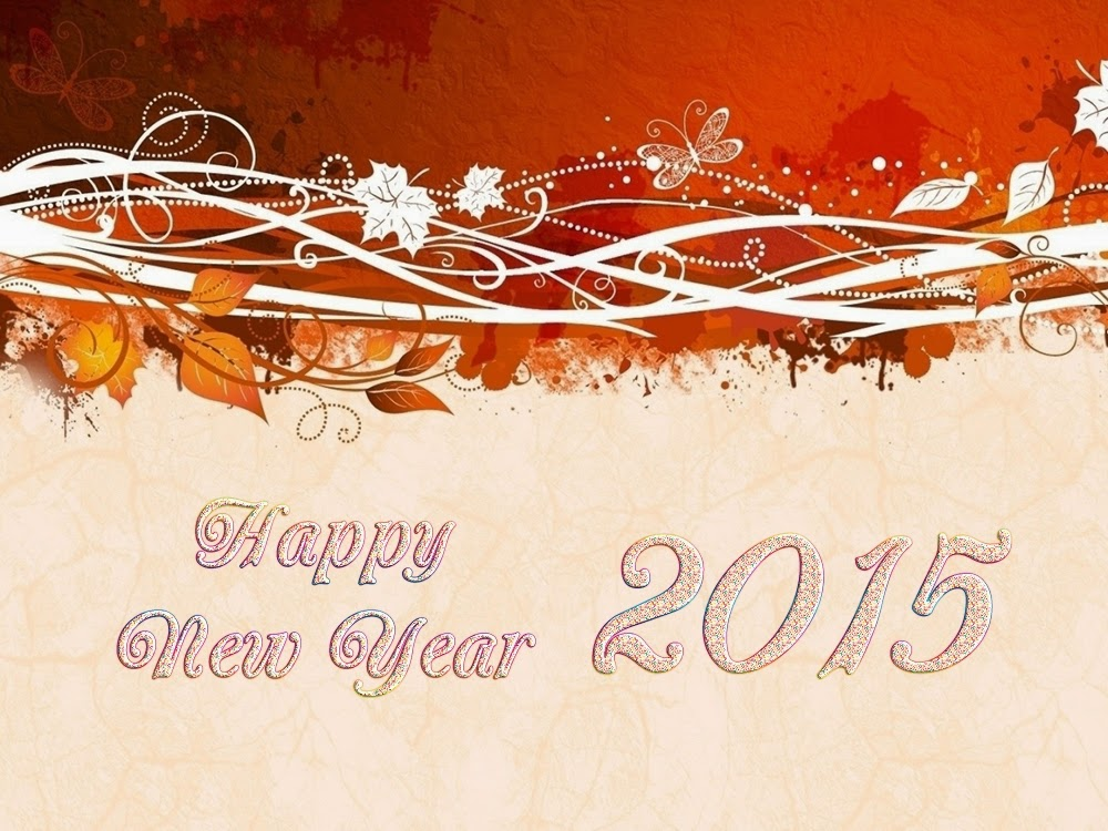 Lovely Leaves Happy New Year 2015 Greeting Cards Images