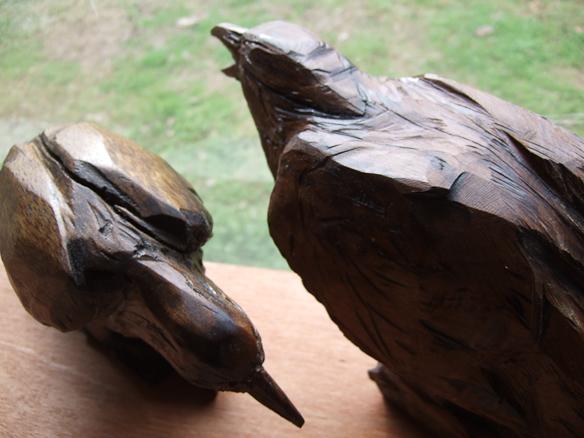 corvids carvings arrangement