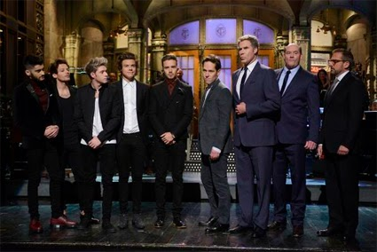 One Direction and the cast of