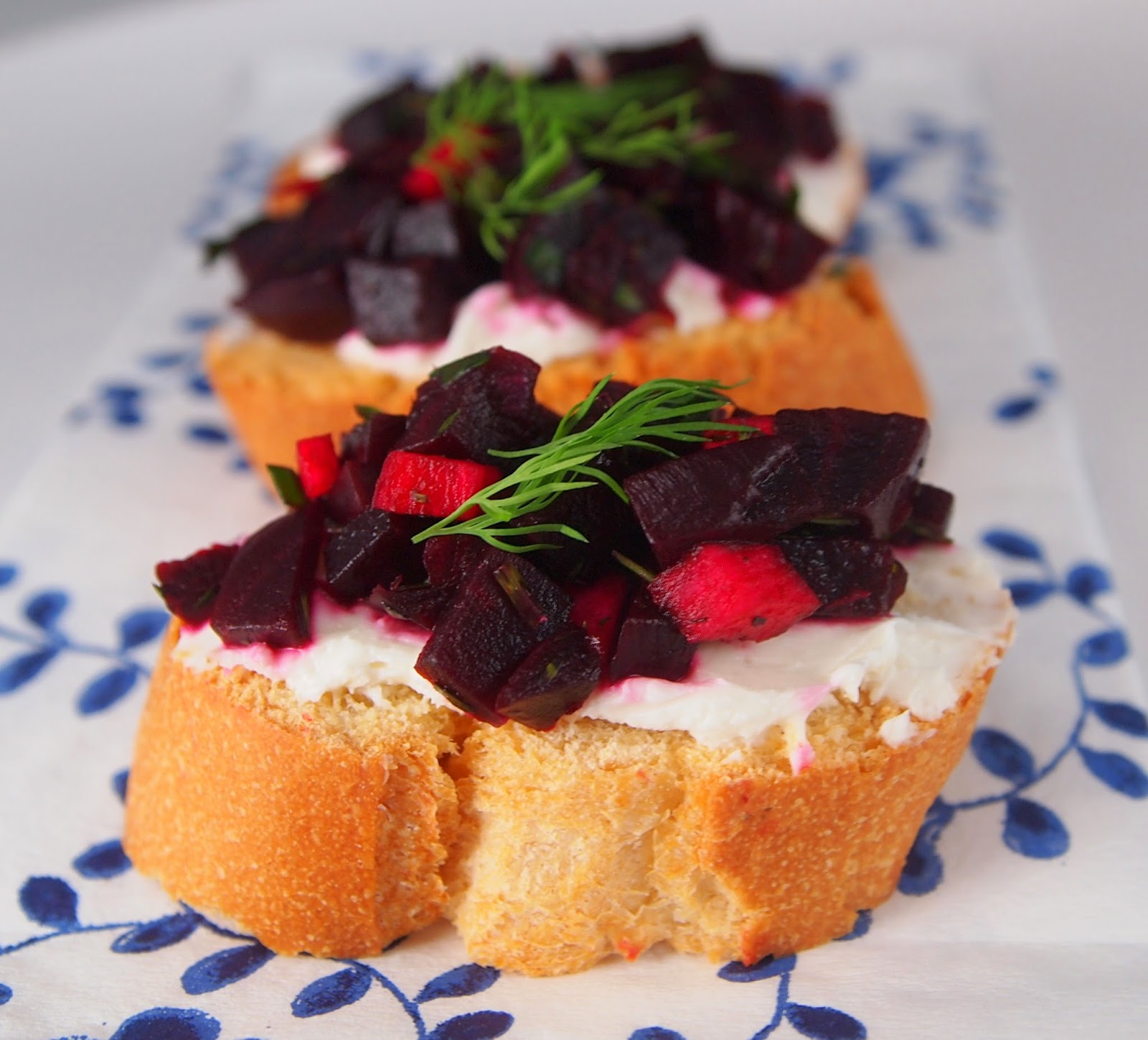Beet & Goat Cheese Bruschetta with Fresh Herbs