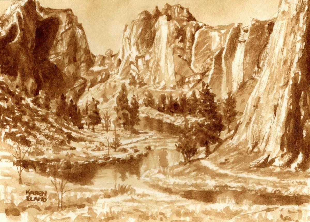 27-Smith-Rock-Oregon-Karen Eland-Vintage-Looking-Beer-and-Water-Paintings-www-designstack-co