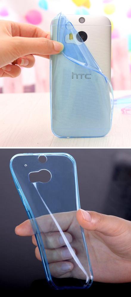 เคส HTC One M8 : รหัสสินค้า 105058 เนื้อใสน้ำเงิน