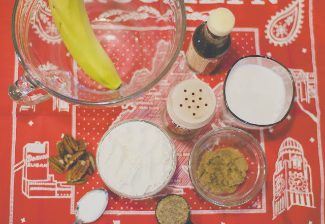 ingredients, pancakes, vegan, banana, nut,