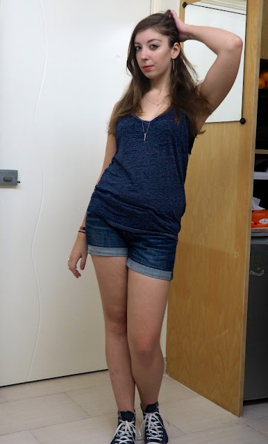 Cut Away   outfit of dark blue cut-up back top, denim shorts & Converse shoes