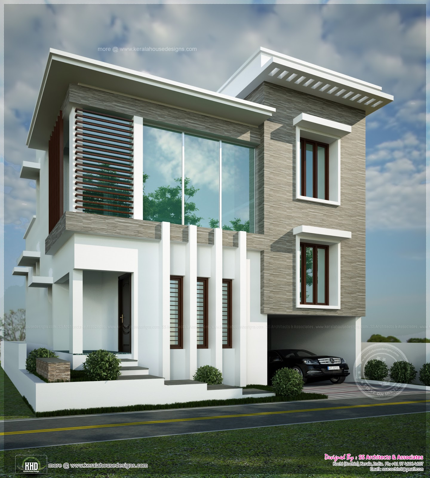 2450 Square Feet Contemporary Modern Home Home Kerala Plans: modern square house