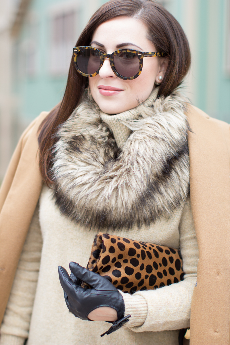 faux fur neck warmer, leopard foldover clutch, moto gloves