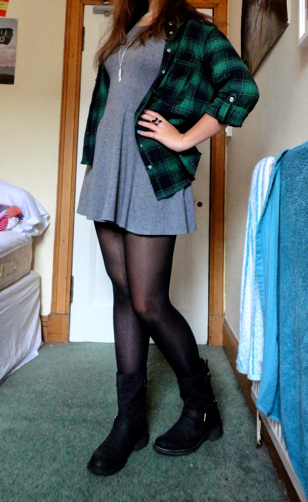 grey dress green checked plaid shirt black boots outfit