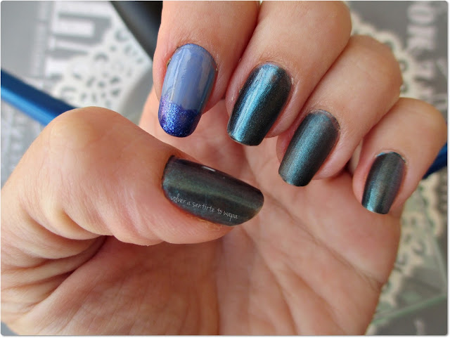 Manicura: azul tornasolado para el otoño - Masglo, China Glaze, Peggy Sage y Essence