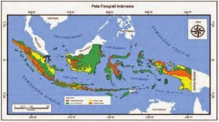 Peta bentuk muka bumi atau fisiografi wilayah Indonesia yang menunjukkan adanya keragaman