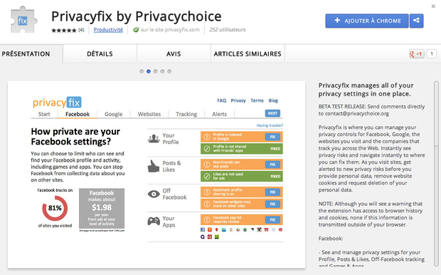 PrivacyFix extension