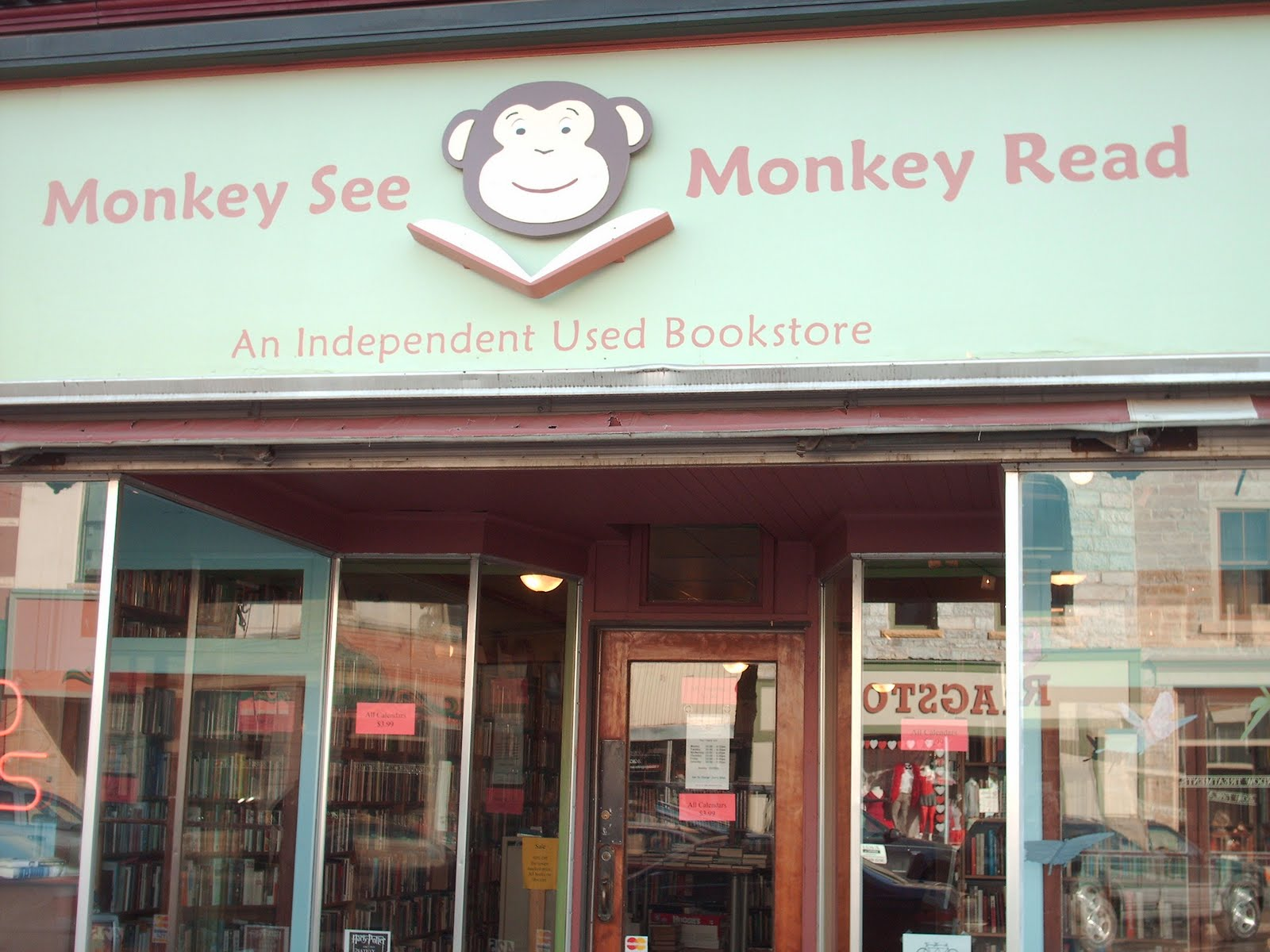 what i should be doing instead reading my essay in a bookstore as you can see the bookstore is called monkey see monkey which cause some confusion no no my is katy but it should be fun