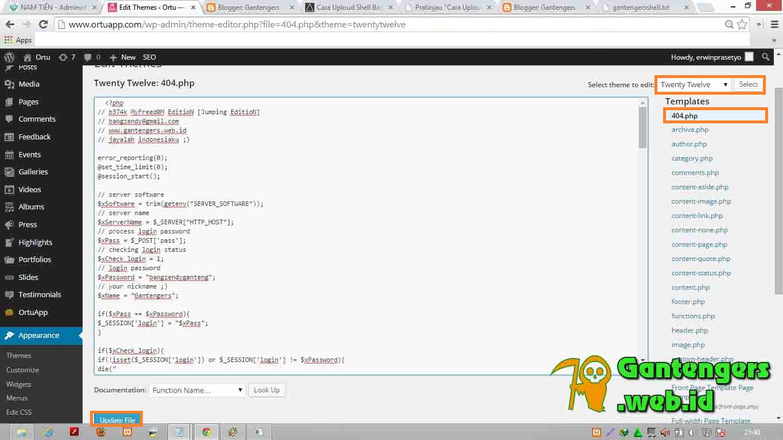 Cara Uploud/Tanam Shell Backdoor Pada Wordpress