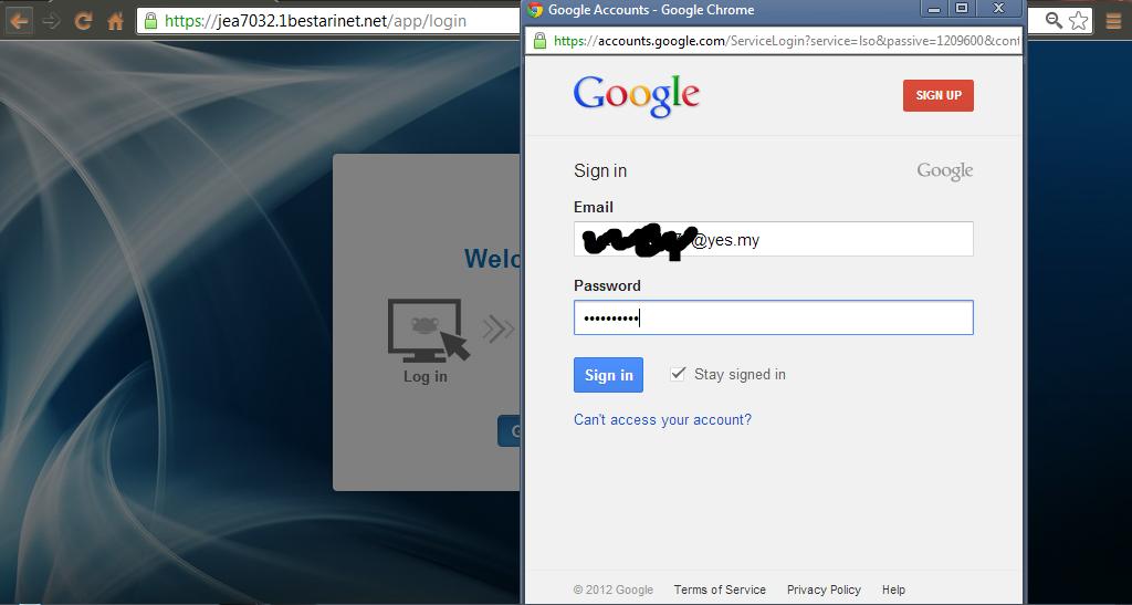 Selepas muncul seperti gambar yang tertera, masukkan emel dan password ...